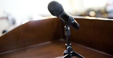 Microphone on a witness stand