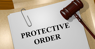 Folder with gavel that says Protective Order