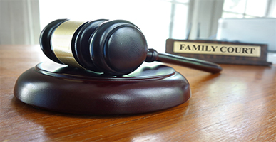 Image a gavel with book that says Family Court