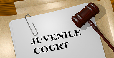 Juvenile court printed on paper with folder