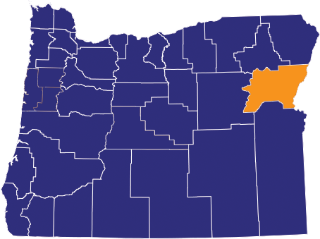 Map highlighting Baker County