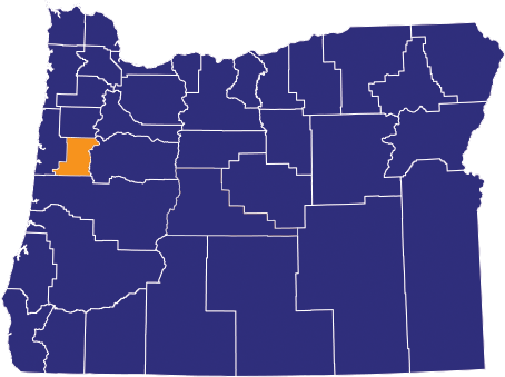 Map highlighting Benton County