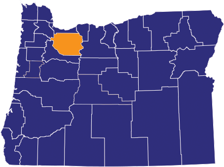Map highlighting Clackamas County