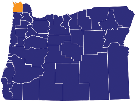 Map of Oregon COunties with Clastop highlighted