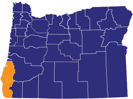 Map highlighting Coos and Curry counties