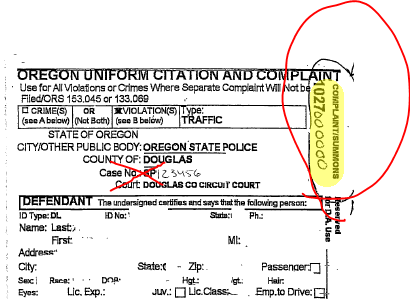 Traffic ticket with Complaint Number circled