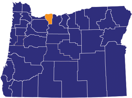 Map highlighting Hood River County
