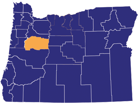 Map highlighting Linn County
