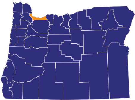 Map highlighting Deschutes County