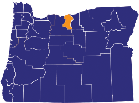 Map highlighting Sherman County