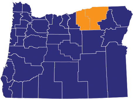 Map highlighting Umatilla & Morrow Counties