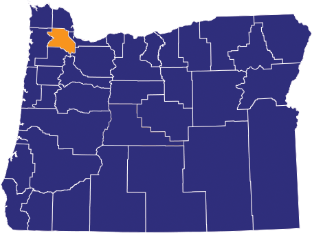Map highlighting Washington County