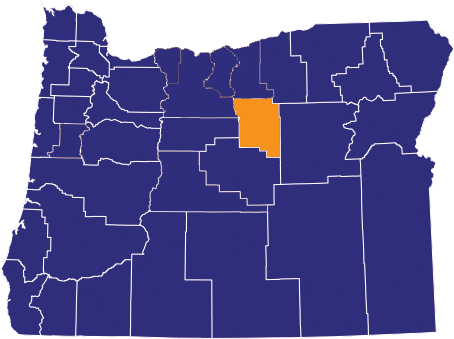 Map highlighting Wheeler County