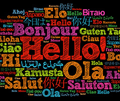 Hello in a word pattern in many languages