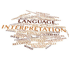 Abstract word cloud of language interpretation