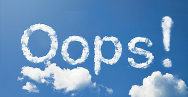 "the word ""Oops"" written in the clouds"