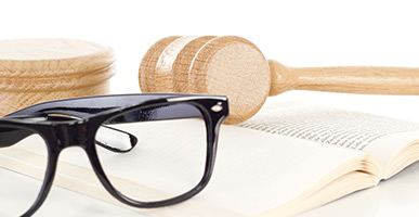 Book, glasses, and gavel
